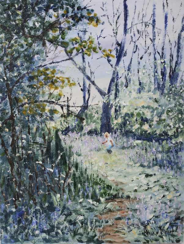 Bluebell Wood acrylic on canvas signed Alice Maw.  41cm x 31cm x 2cm.
