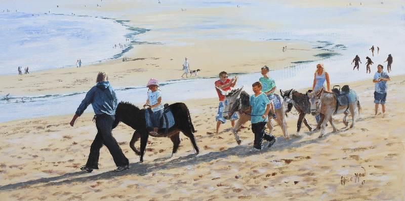 Donkey Ride, signed Alice Maw, 2013. 80cm x 40cm x 2cm acrylic on canvas.