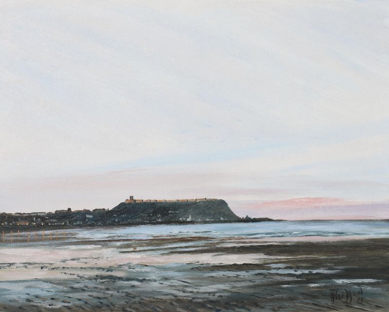 Scarborough South Bay at Sunset, signed Alice Maw, (20)09. 50cmx40cmx2cm acrylic on canvas.