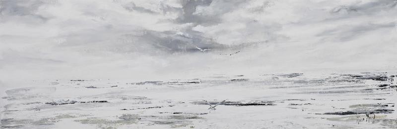 Surf and Gulls, signed Alice Maw, (20)12 acrylic on canvas.  90cm x 30cm x2cm.