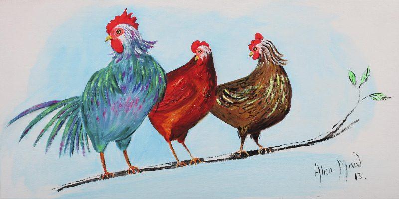 Three Funky Chickens, signed Alice Maw, (20)13. 80cm x 40cm x 2cm.