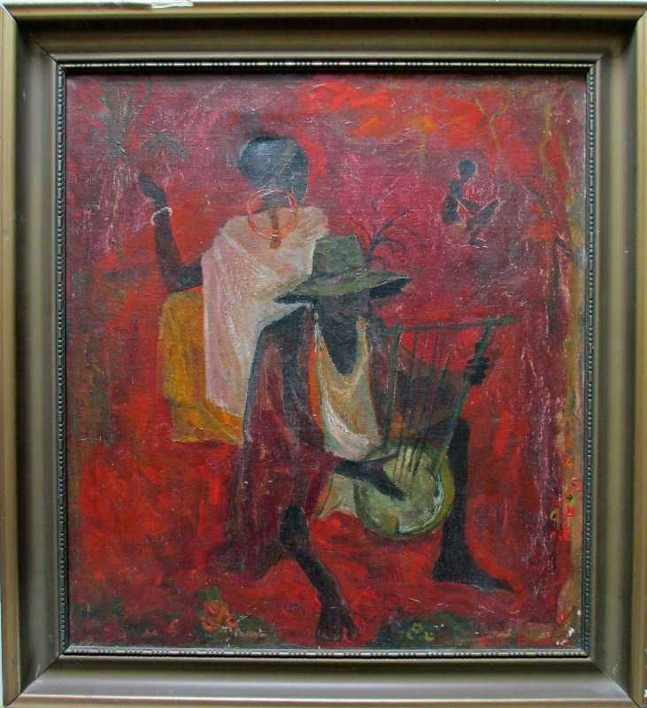 African Rhythm, oil on canvas, signed Kitty Burns 1951.