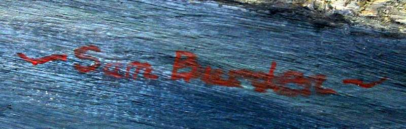 Belvoir Castle viewed from the Vale of Belvoir, oil on board, signed Sam Burden. c1985. Detail. Signature.