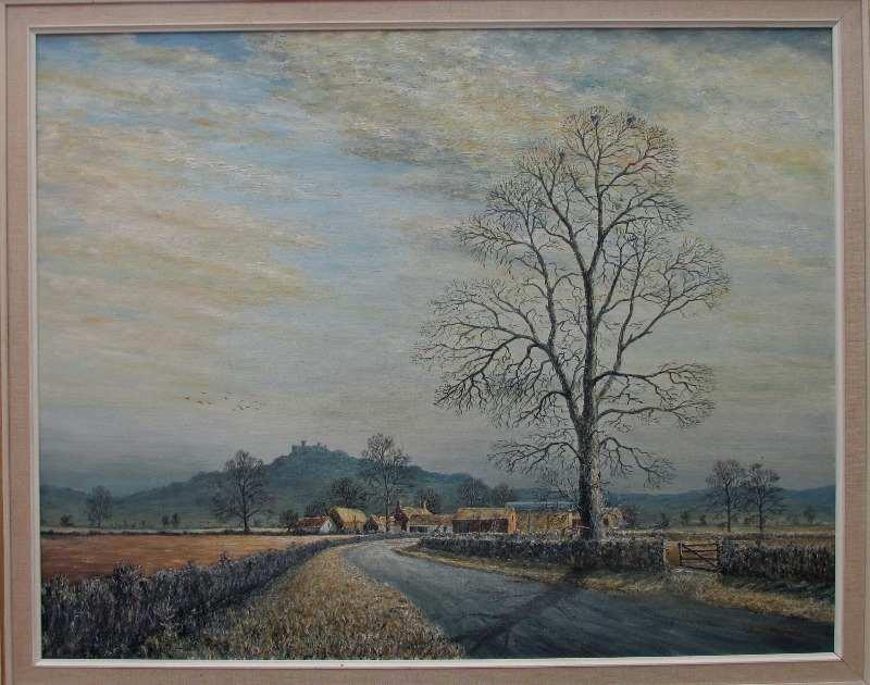 Belvoir Castle viewed from the Vale of Belvoir, oil on board, signed Sam Burden. c1985.
