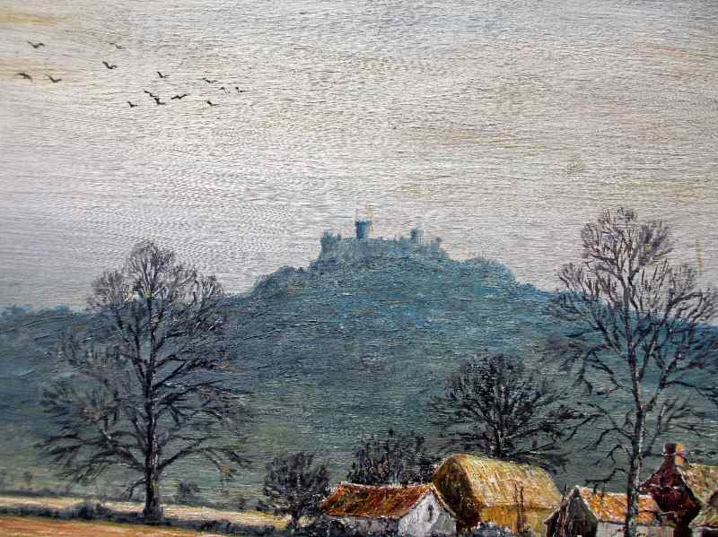 Belvoir Castle viewed from the Vale of Belvoir, oil on board, signed Sam Burden. c1985. Detail.