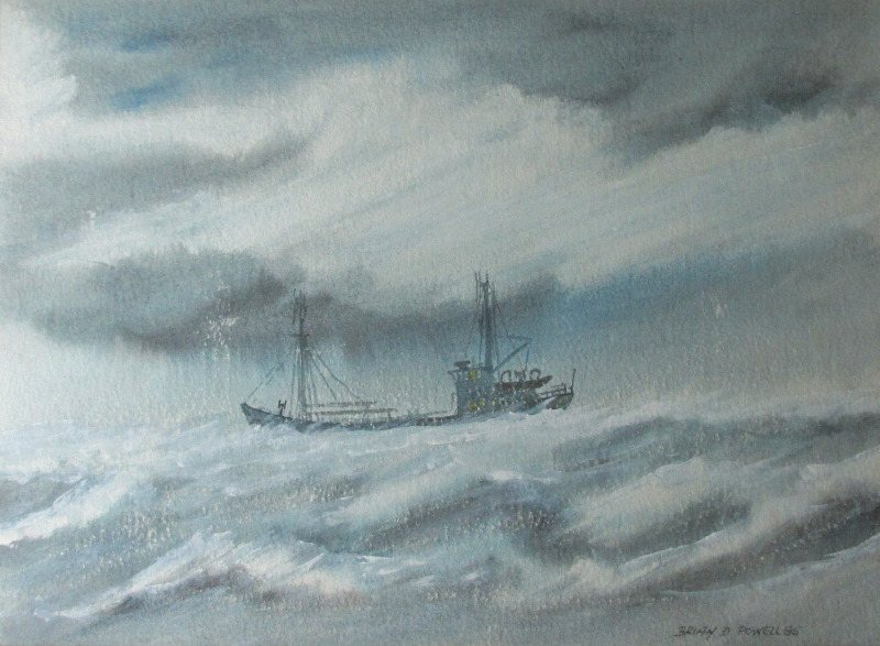 Coaster in Heavy Seas off Cumbria, watercolour and gouache, signed Brian D. Powell 85.