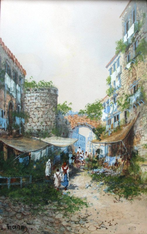 Old Street Scene in Naples, Signed Y. Gianni, 19th/20th C Neapolitan School, c1900.
