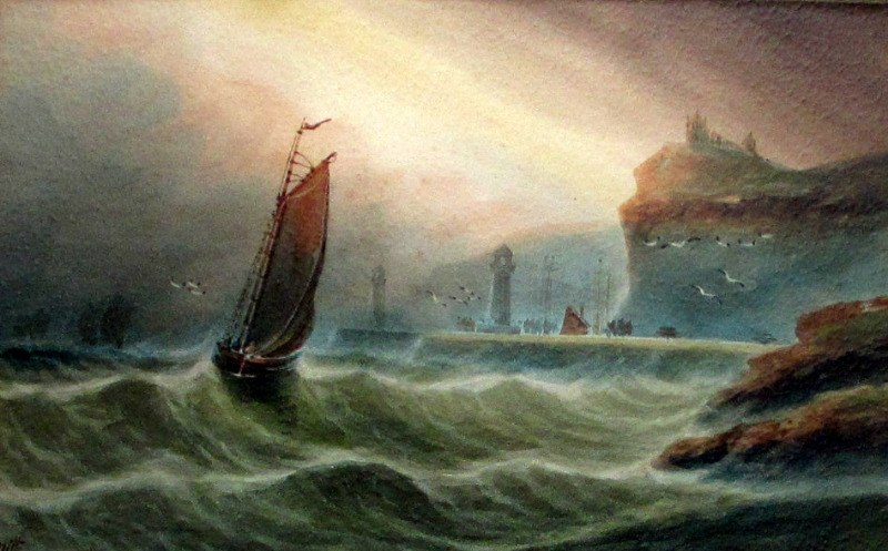 Fishermen returning to Whitby, watercolour on paper, signed A. Smith, c1920.