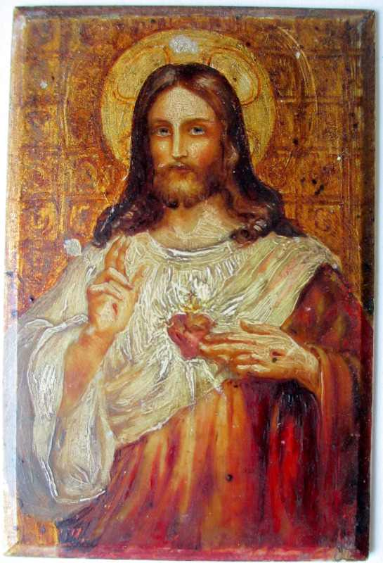 Iconic study of Jesus, oil on panel, late 19th/early 20th C Eastern Orthodox School. Panel removed from frame.