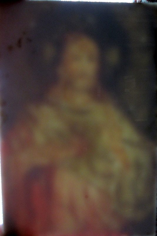 Iconic study of Jesus, oil on panel, late 19th/early 20th C Eastern Orthodox School. Panel removed from frame. Viewed from behind panel.