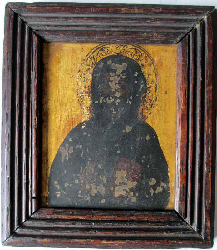 Iconic Study of a Saint, oil on copper, 19th C Eastern Orthodox School.