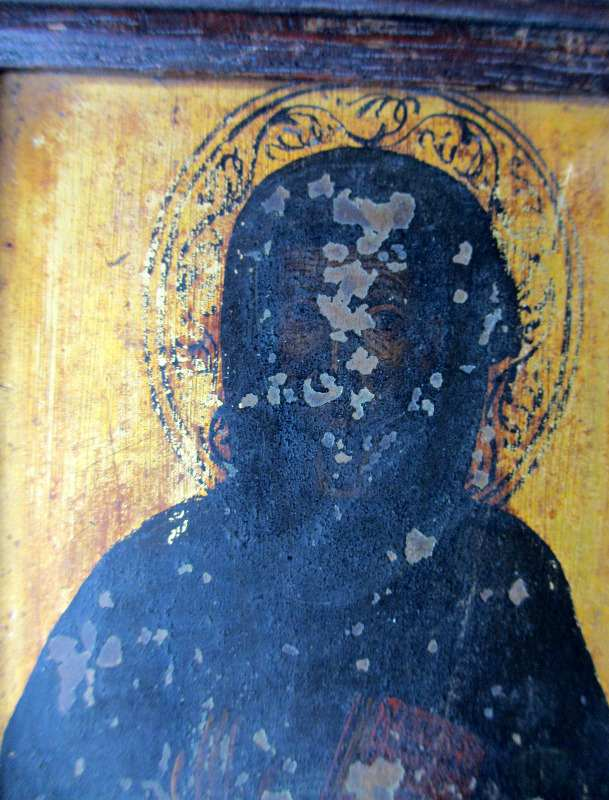 Iconic Study of a Saint, oil on copper, 19th C Eastern Orthodox School. Detail.