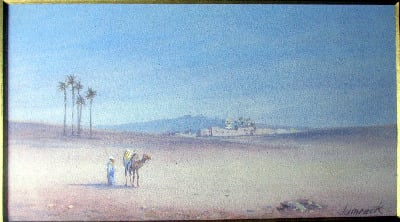 Lone Traveller with Camel, watercolour and gouache on paper, signed Jamrack