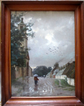 Dailly Village, South Ayrshire, oil on board, signed L. Thomson, 87.  SOLD  13.06.2014.
