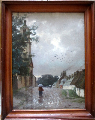 Dailly Village, South Ayrshire, oil on board, signed L. Thomson, 87.