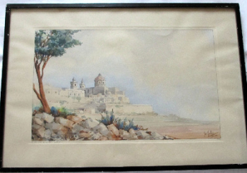 "The Old City of Malta, ""Mdina"", watercolour on paper, signed Jos. Galea Malta 1951."