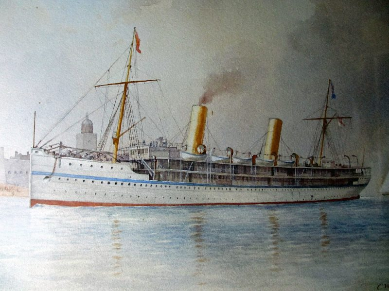 HMS Ophir entering Portsmouth Harbour on the Royal Tour 1901, watercolour on paper, signed C.W.F. (Charles W. Fothergill) 1901.