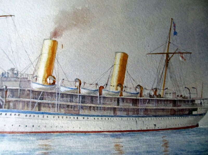 HMS Ophir entering Portsmouth Harbour on the Royal Tour 1901, watercolour on paper, signed C.W.F. (Charles W. Fothergill) 1901. Detail.