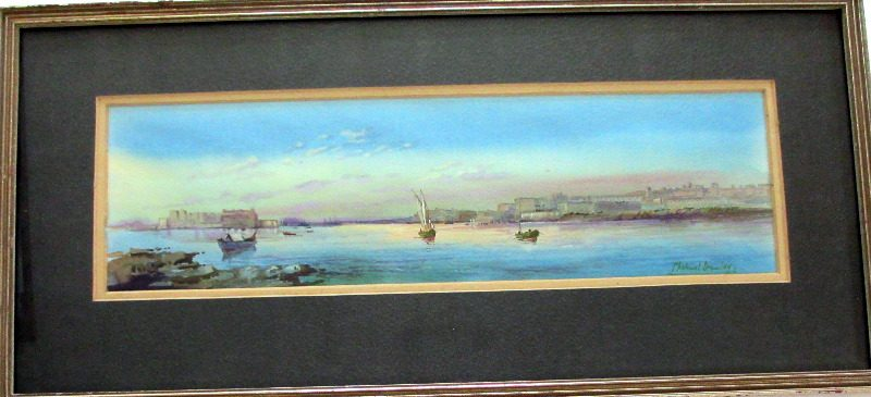 Grand Harbour from Senglea, Malta, signed Michael Crawley, c1990.