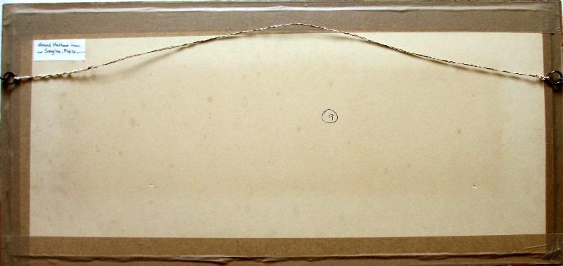 Grand Harbour from Senglea, Malta, signed Michael Crawley, c1990. Verso.