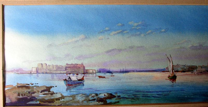 Grand Harbour from Senglea, Malta, signed Michael Crawley, c1990. Detail.