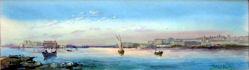 Grand Harbour from Senglea, Malta, signed Michael Crawley, c1990. Detail.