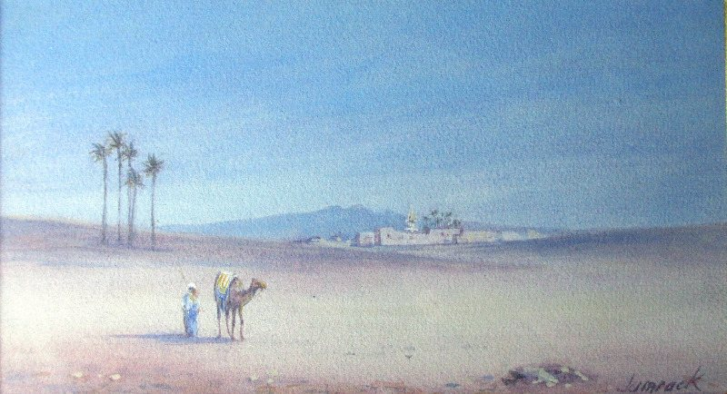 Lone Traveller with Camel, watercolour and gouache on paper, signed Jamrack. c1880.
