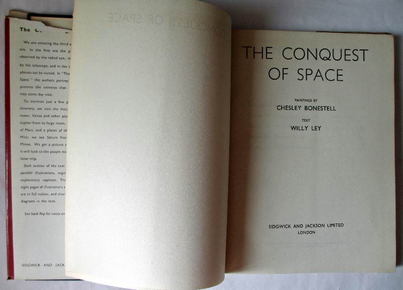 The Conquest of Space by Willy Ley, paintings by Chesley Bonestell, British 1st Edition 1950. Title page.