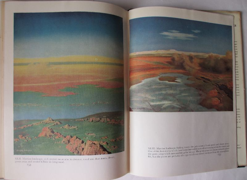 The Conquest of Space by Willy Ley, paintings by Chesley Bonestell, British 1st Edition 1950. Sample page and painting.