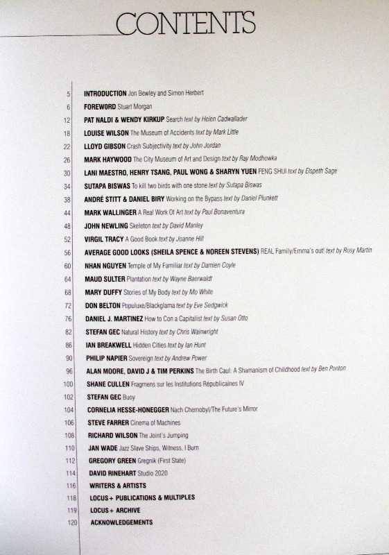 Locus+ 1993-1996, edited Samantha Wilkinson, 1996. 1st Edition. Contents.