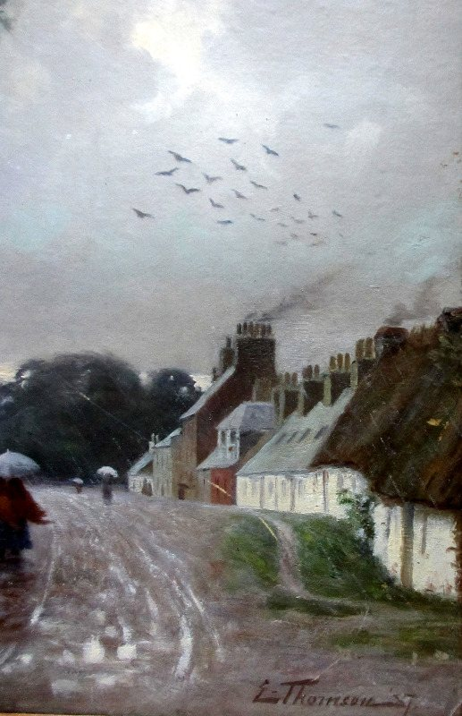 Dailly Village South Ayrshire, oil on board, signed L. Thomson 87. Detail.
