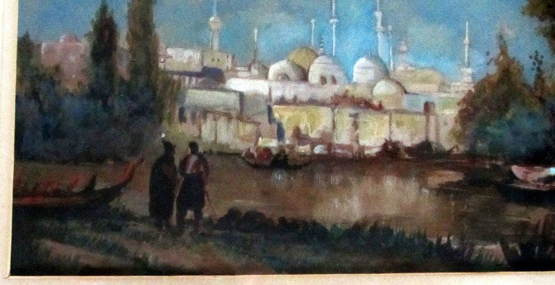 Turkish River Crossing with Mosque and Boats, watercolour and gouache on paper, unsigned. c1900. Detail.