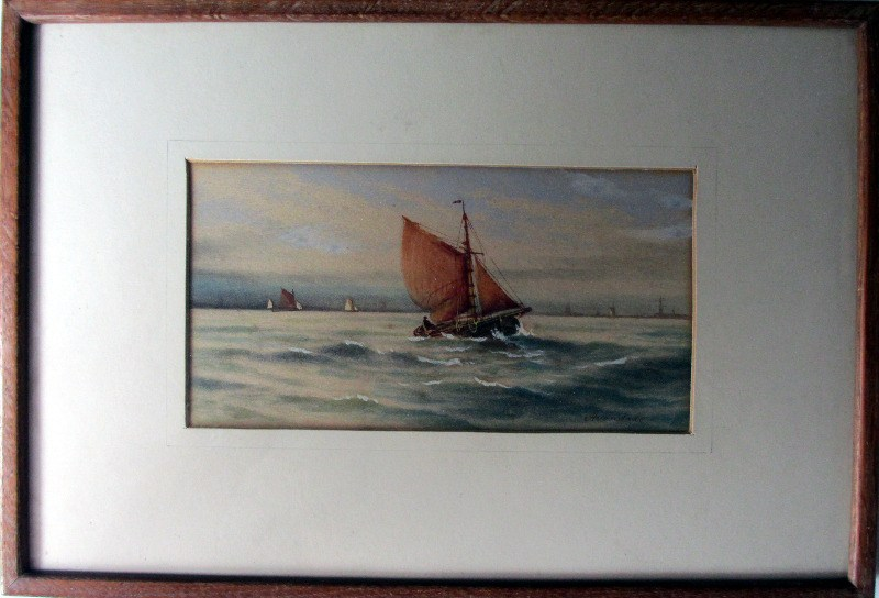 Fishing Boats off the English Coast, watercolour on paper, signed Avondale. c1910.