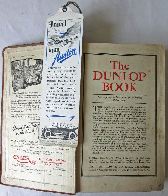 The Dunlop Guide. The British Road Book. Third Edition. 1928. Front e/p with attached book-mark.