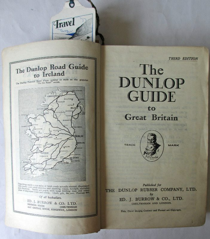The Dunlop Guide. The British Road Book. Third Edition. 1928. Title page with facing Road Guide to Ireland.