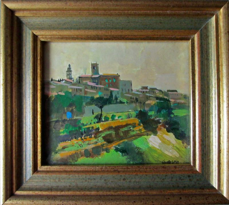 Looking South, acrylic on canvas board, signed Stubley, c1995.