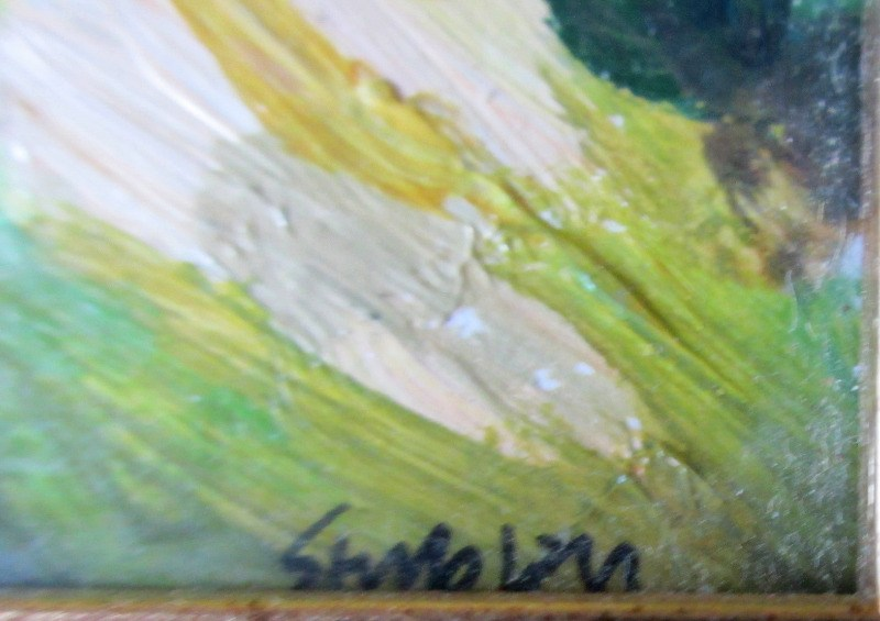 Looking South, acrylic on canvas board, signed Stubley, c1995. Detail. Signature.