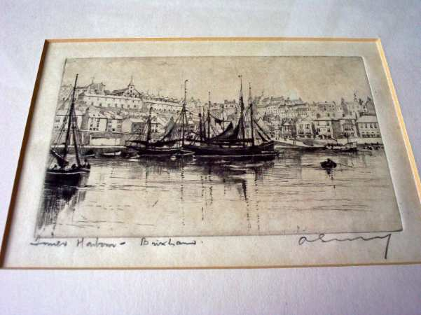 Inner Harbour Brixham, an etching impression, signed by Unknown artist c1900.