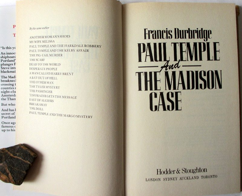 Paul Temple and the Madison Case by Francis Durbridge, Hodder & Stoughton 1988. 1st Edition. Title page.
