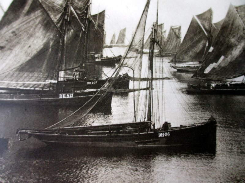 Brixham Trawlers Waiting for a Breeze, 1889, reproduction from the Francis Frith Collection 1860-1940. 1978. Detail.
