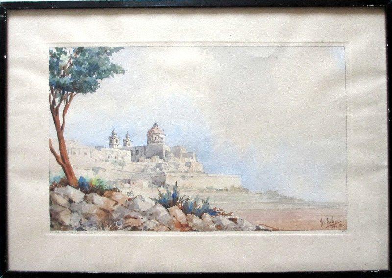 "The Old City of Malta ""Mdina"", watercolour and pencil on paper, signed Jos. Galea Malta. 1951."