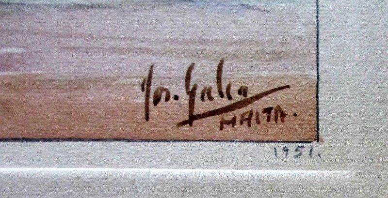 "The Old City of Malta ""Mdina"", watercolour and pencil on paper, signed Jos. Galea Malta. 1951. Signature."