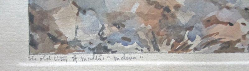 "The Old City of Malta ""Mdina"", watercolour and pencil on paper, signed Jos. Galea Malta. 1951. Handwritten title lower lh corner."