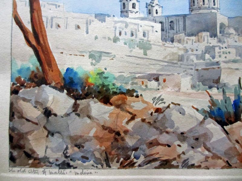 """The Old City of Malta """"Mdina"""", watercolour and pencil on paper, signed Jos. Galea Malta. 1951. Detail."""