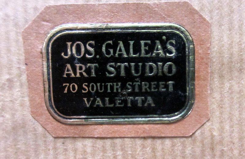 """The Old City of Malta """"Mdina"""", watercolour and pencil on paper, signed Jos. Galea Malta. 1951. Studio label."""