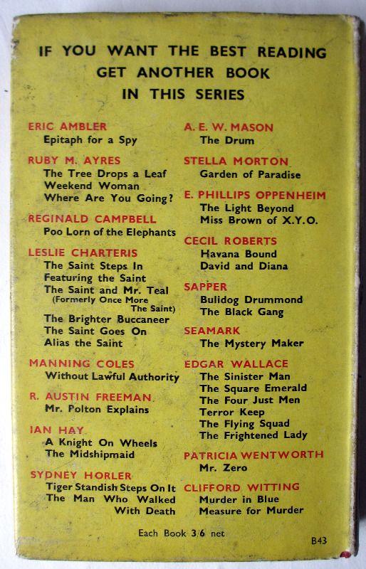 The Light Beyond by E. Phillips Oppenheim, H & S, 1950. Back DJ.