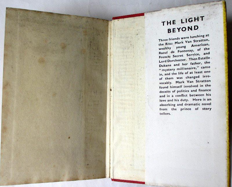 The Light Beyond by E. Phillips Oppenheim, H & S, 1950. Back DJ fold.