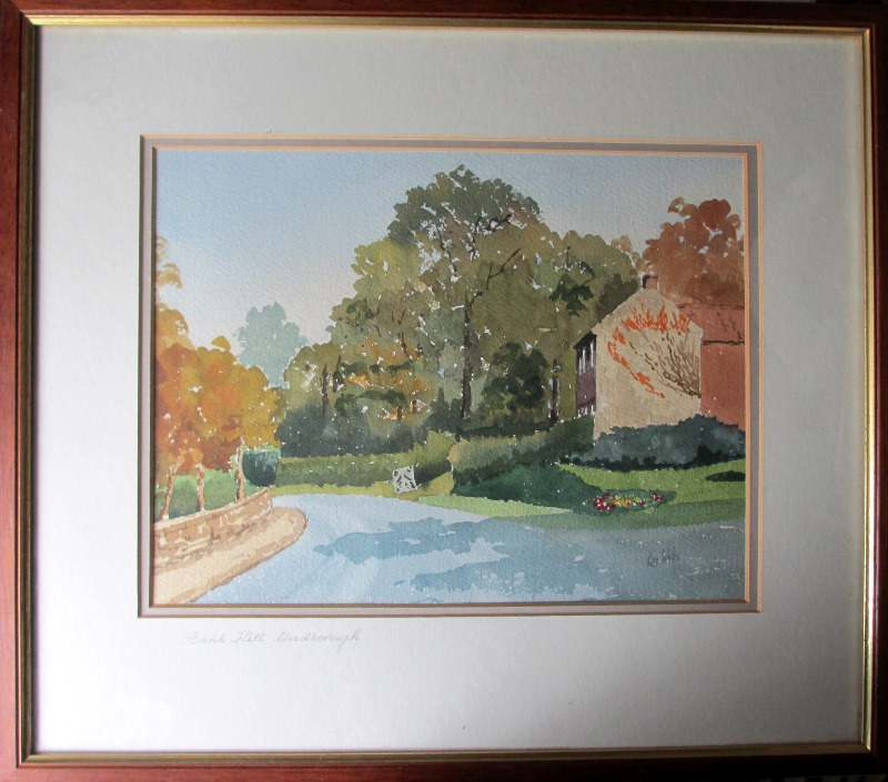 Bank Hill, Woodborough, Nottinghamshire, watercolour, signed Ken Wells. c1985.