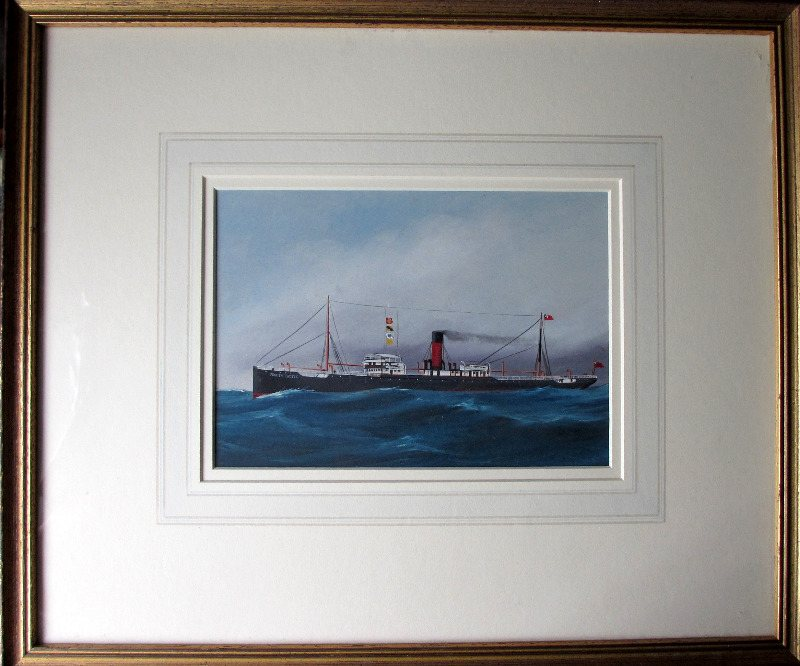 ss Penrith Castle, Chambers & Co., Liverpool, gouache on paper. Unsigned - Follower of Antonio de Simone. c1910.