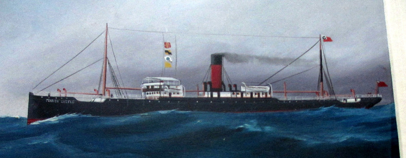 ss Penrith Castle, Chambers & Co., Liverpool, gouache on paper. Unsigned - Follower of Antonio de Simone. c1910. Detail.